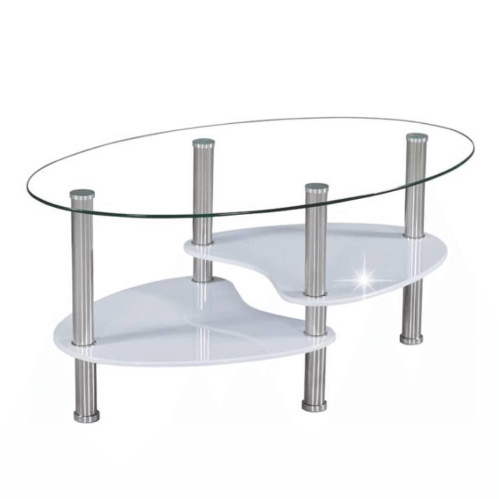 Tempo Kondela Konferenčný stolík oceľ/sklo/biela extra vysoký lesk HG AXEL NEW