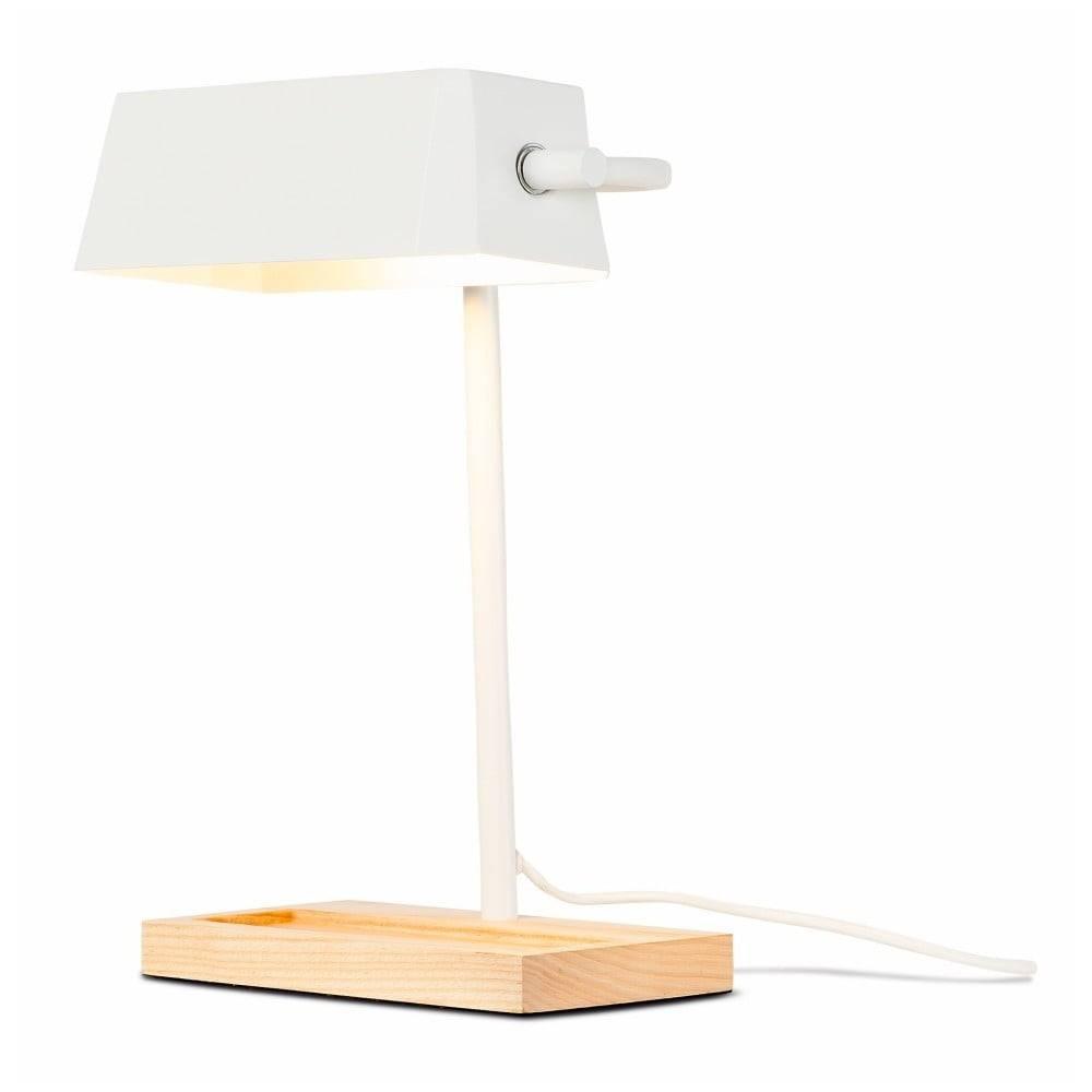 Citylights Biela stolová lampa s prvkami z jaseňového dreva Citylights Cambridge