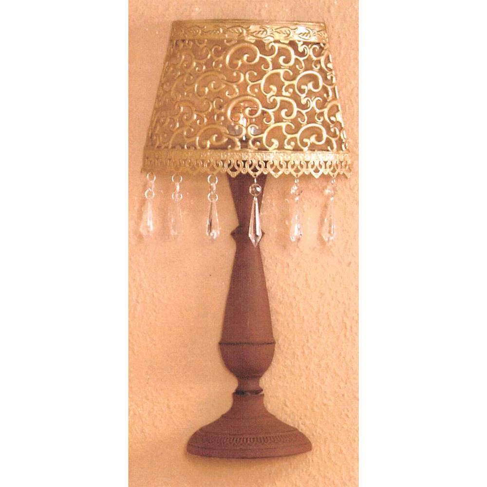 IDEA Nábytok Nástenná dekoratívna kovová lampa zlatá/hnedá