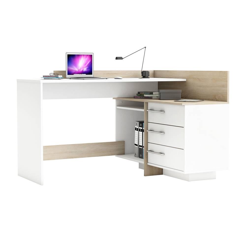 IDEA Nábytok Písací stôl rohový THALES 484881 dub/biela
