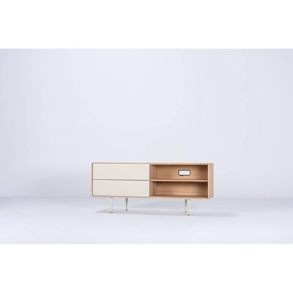 Gazzda Biely TV stolík z dubového dreva Gazzda Mushroom, šírka 150 cm