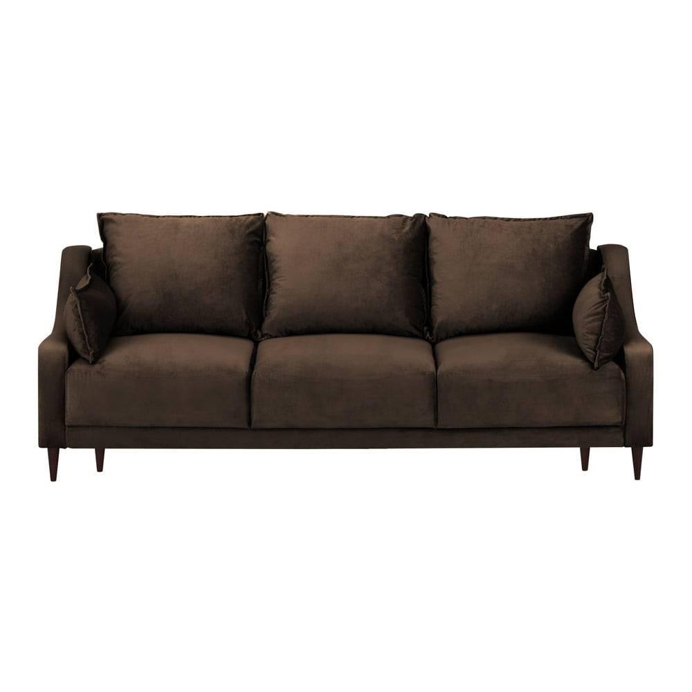 Mazzini Sofas Hnedá zamatová rozkladacia pohovka s úložným priestorom Mazzini Sofas Freesia, 215 cm