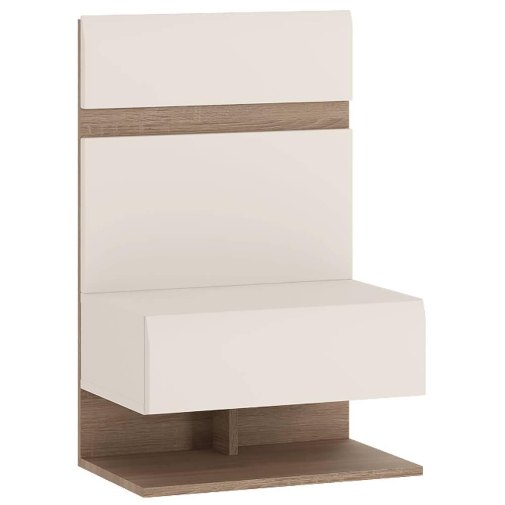 Tempo Kondela Nočný stolík biela extra vysoký lesk HG/dub sonoma tmavý truflový LYNATET TYP 95
