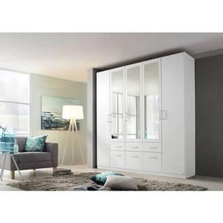 Šatníková skriňa BAYLEE alpská biela, 5-dverová s 3 zrkadlami