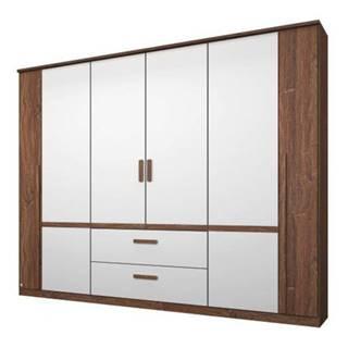 Šatníková skriňa GABRIELLE dub stirling/alpská biela, 6 dverí, 2 zásuvky