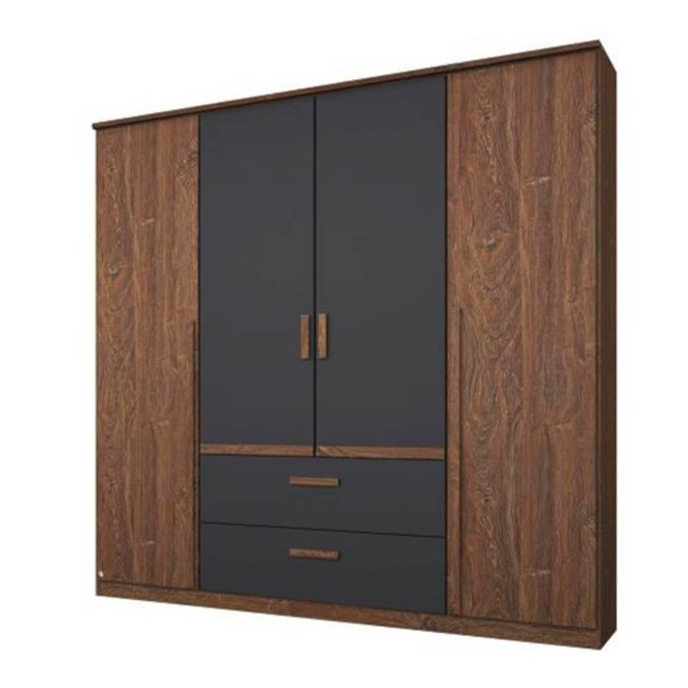 Sconto Šatníková skriňa GABRIELLE dub stirling/sivá, 4 dvere, 2 zásuvky