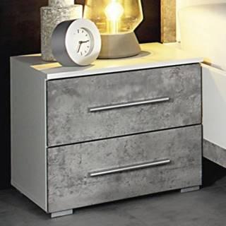 Nočný stolík Siegen, biely/sivý betón