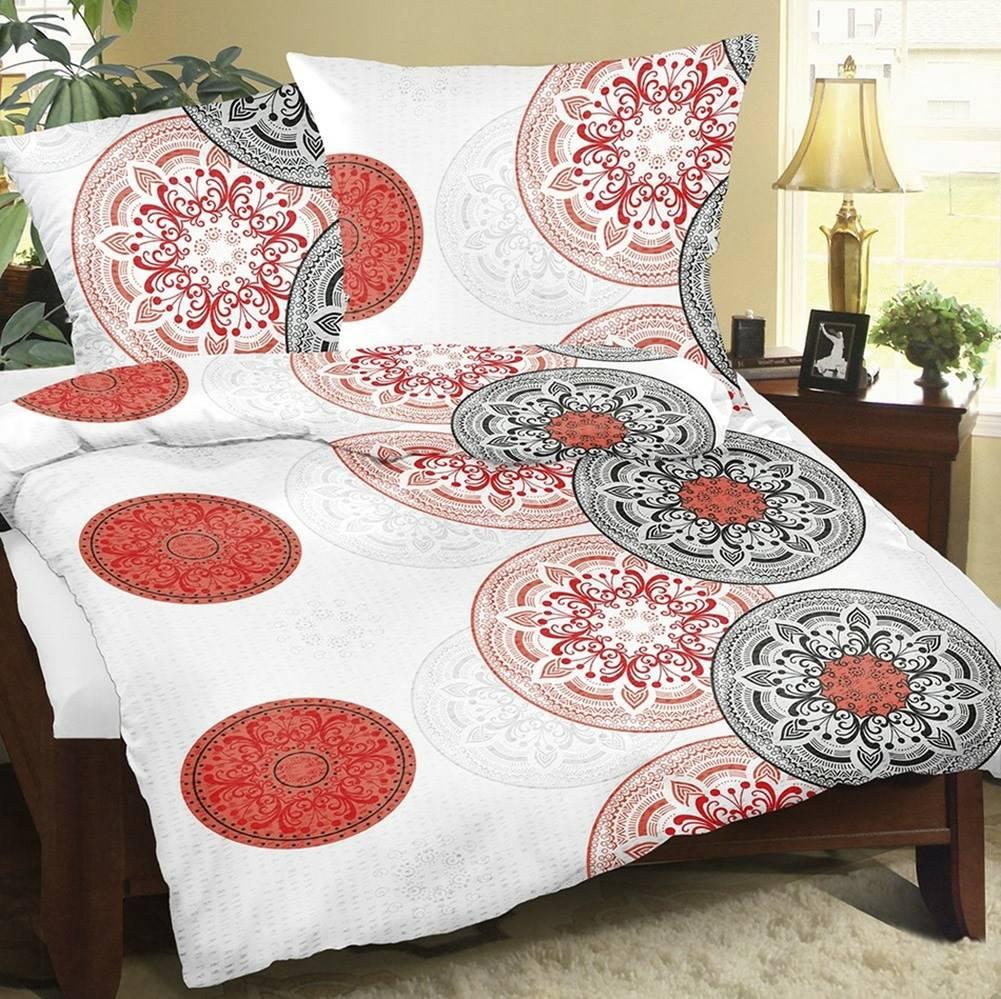 Bellatex Bellatex Krepové obliečky Mandala červená, 140 x 200 cm, 70 x 90 cm
