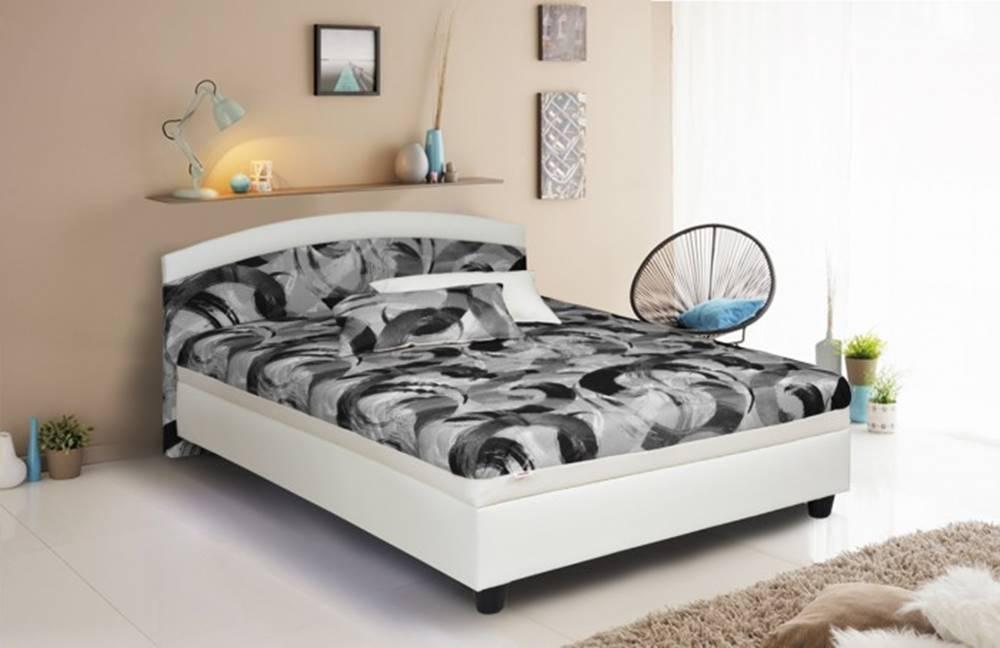 OKAY nábytok Čalúnená posteľ Zonda 120x200, šedá/biela, vrátane matracov a úp