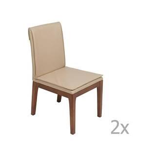 Sada 2 krémovo-bielych jedálenských stoličiek s konštrukciou z dubového dreva Santiago Pons Donato