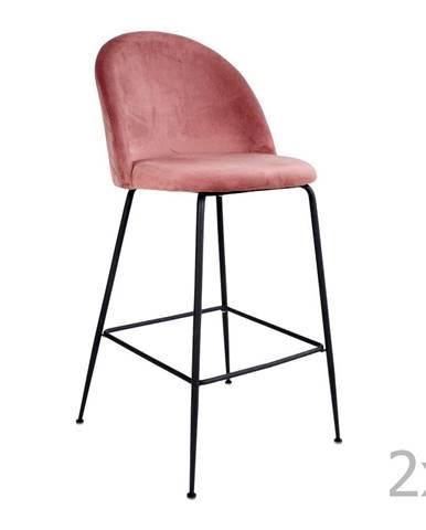Sada 2 ružových barových stoličiek so zamatovým poťahom s nohami čiernej farby HoNordic Lausanne