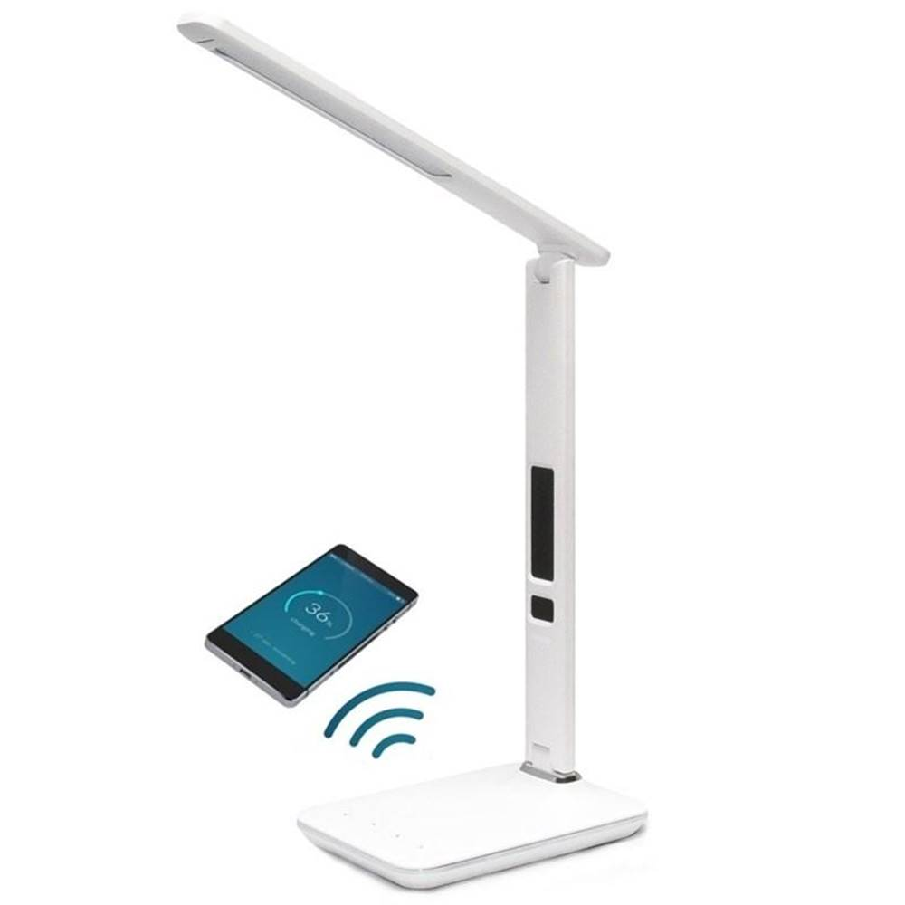 IMMAX Stolná lampa Immax Kingfisher s bezdrátovým nabíjením Qi a USB, 8,5