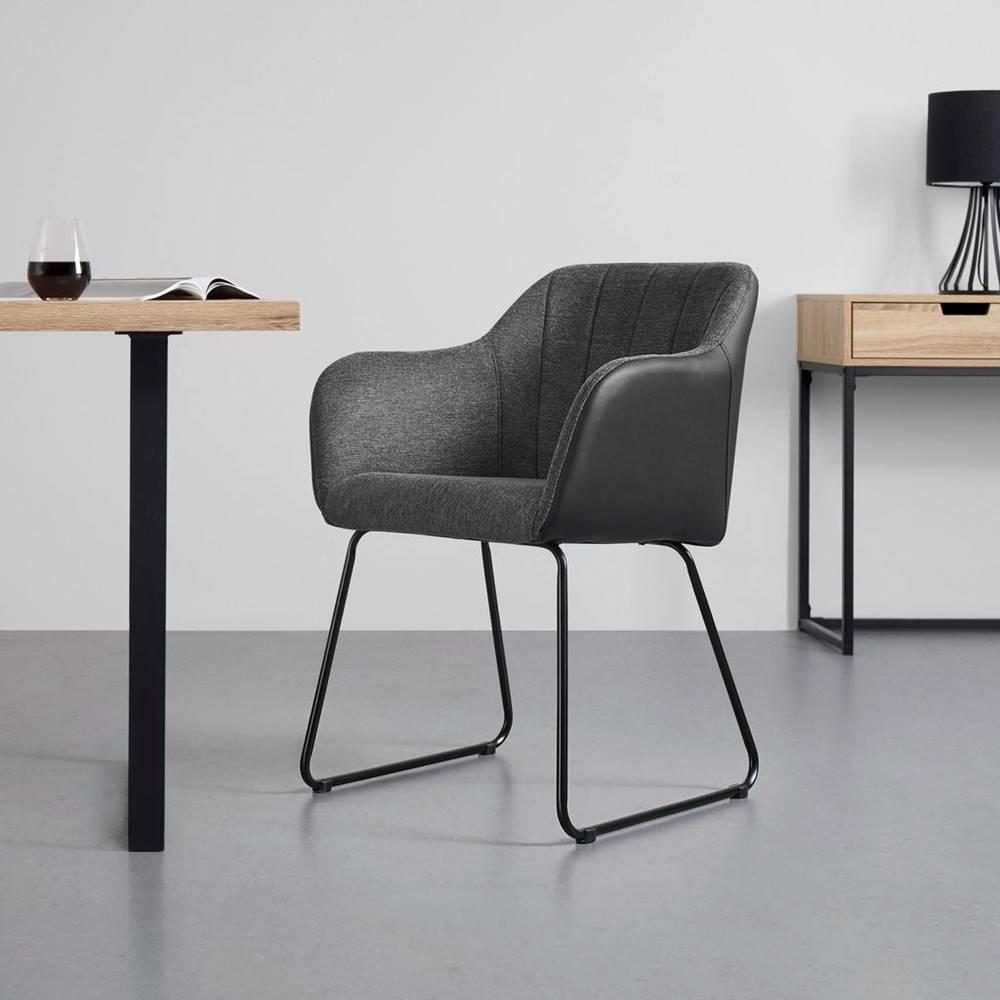 Möbelix stolička s podrúčkami Johanna Tmavá sivá