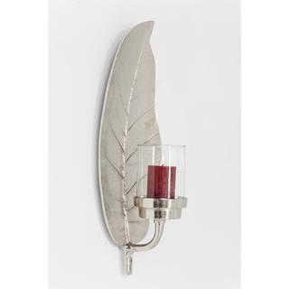 Nástenný kovový svietnik v striebornej farbe Kare Design Leaf