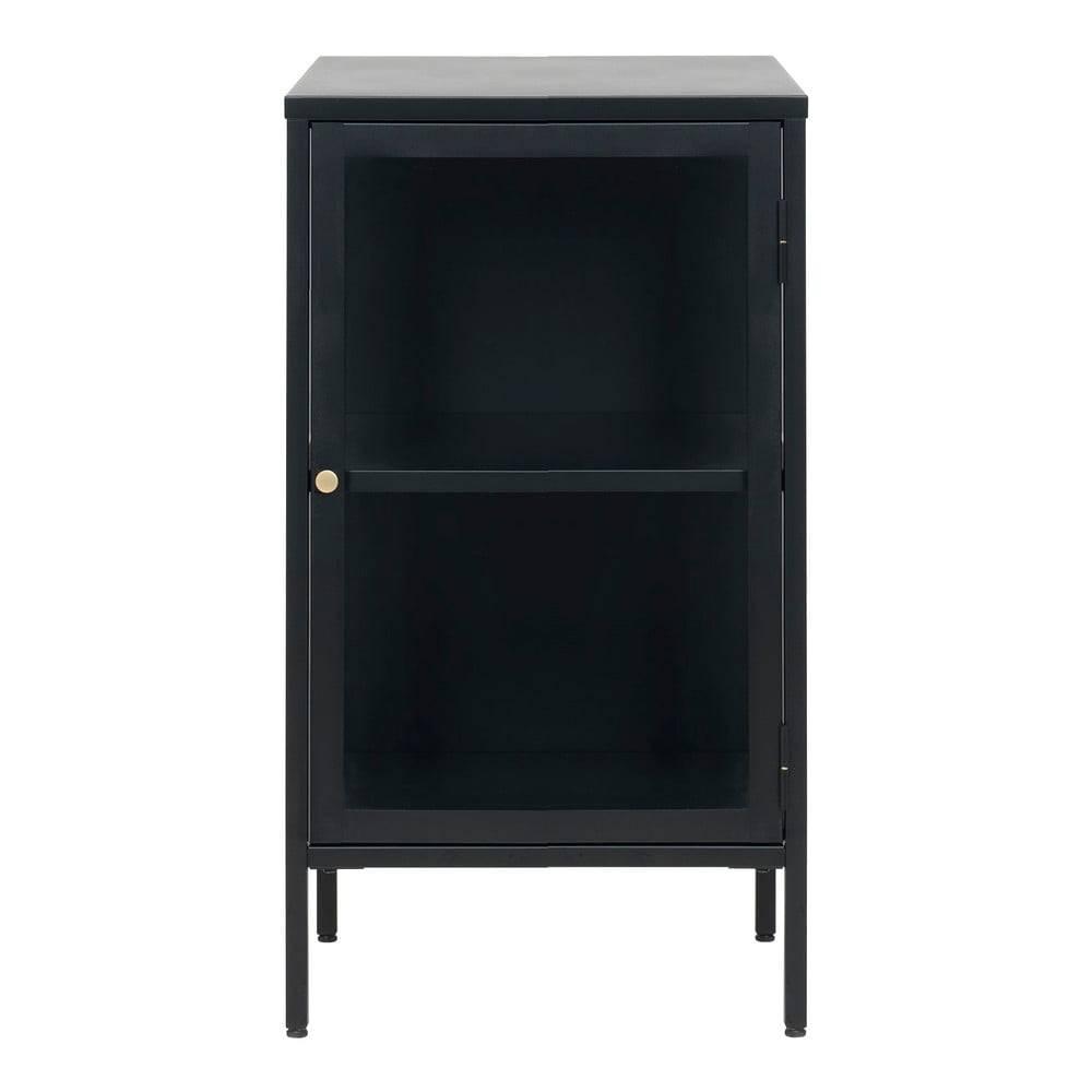 Unique Furniture Čierna komoda s presklenými dverami Unique Furniture Carmel, dĺžka 45,3 cm