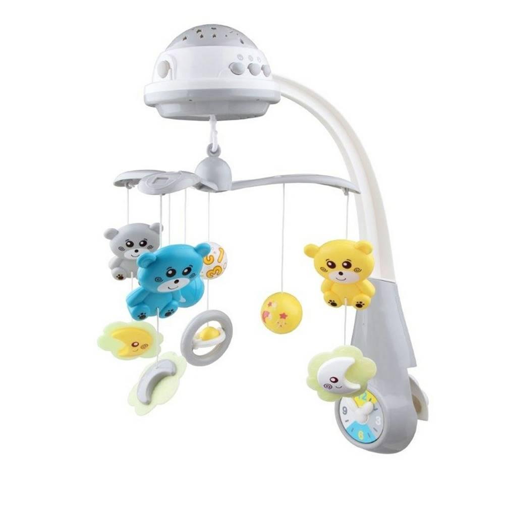 Topvet BABY MIX Kolotoč Nad Postieľku So Svetelným Projektorom Grey