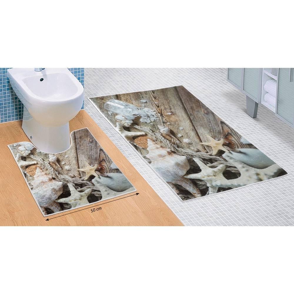 Bellatex Bellatex Sada kúpeľňových predložiek Morské lastúry 3D, 60 x 100 cm, 50 x 60 cm