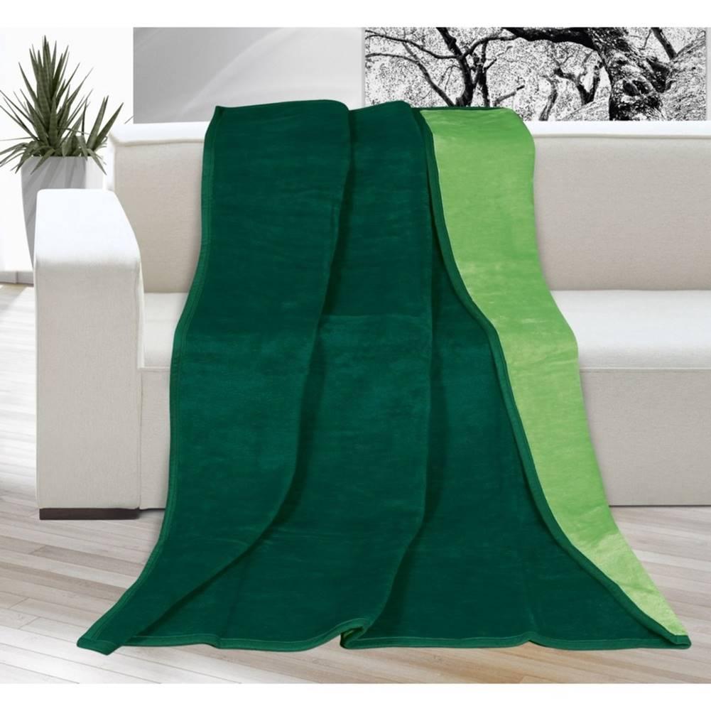 Bellatex Bellatex Deka Kira tmavo zelená/zelená, 150 x 200 cm