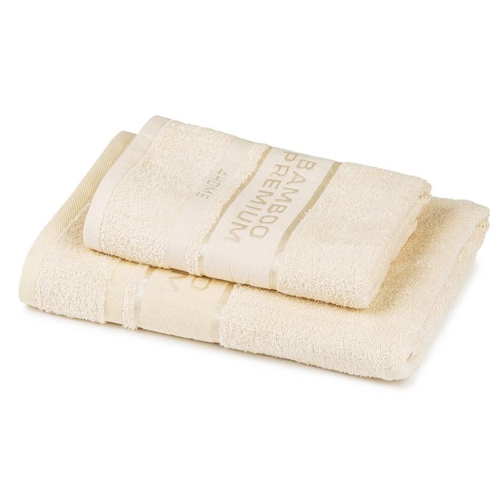 4Home 4Home Sada Bamboo Premium osuška a uterák krémová, 70 x 140 cm, 50 x 100 cm