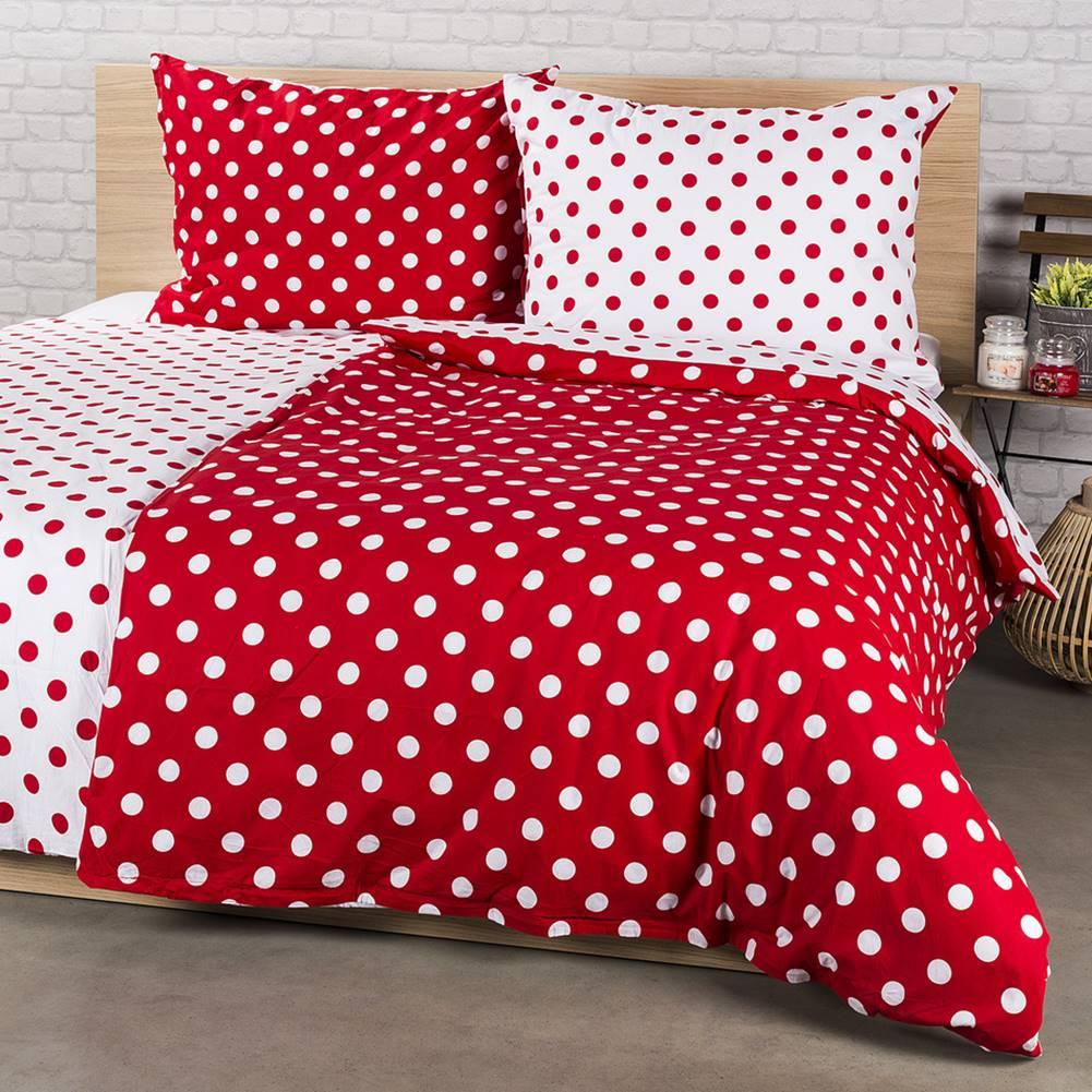 4Home 4Home bavlnené obliečky Bodka, červená, 220 x 200 cm, 2 ks 70 x 90 cm