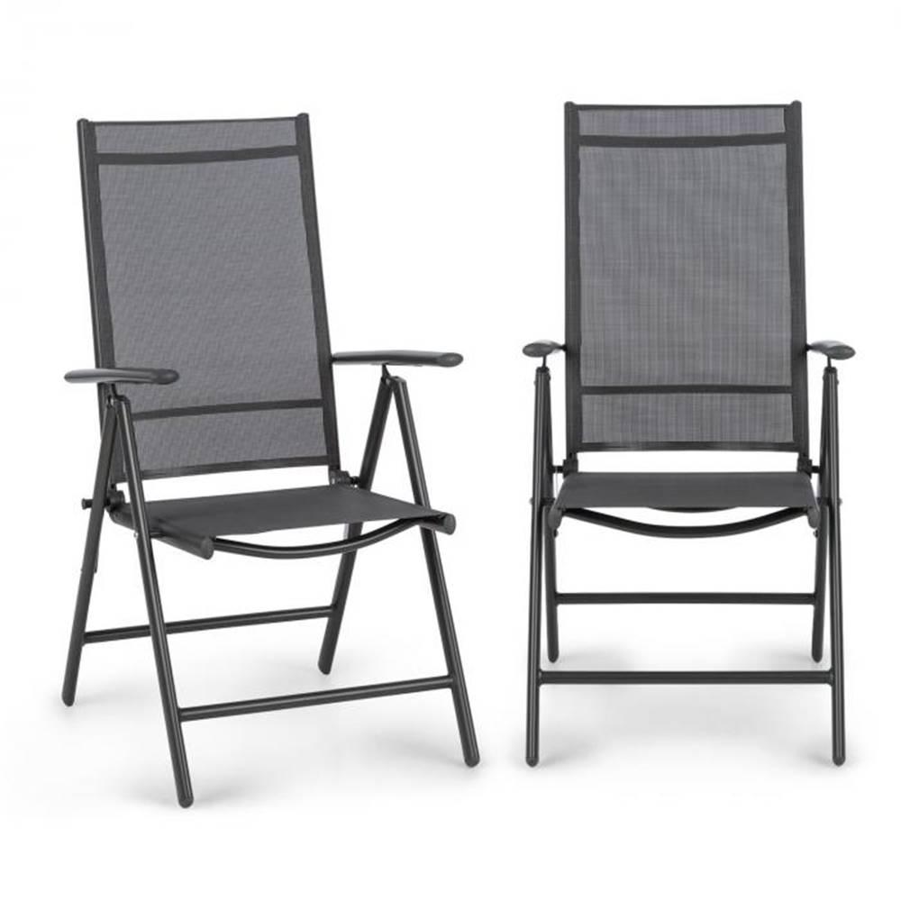 Blumfeldt Blumfeldt Almeria, skladacia stolička, sada 2 kusov, 56,5 x 107 x 68 cm, ComfortMesh, antracitová