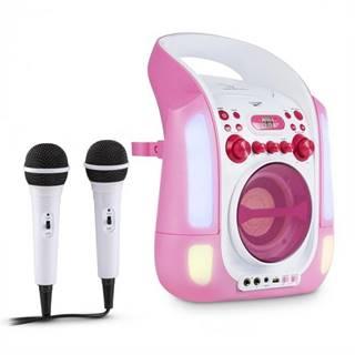Auna Kara Illumina, ružový, karaoke systém, CD, USB, MP3, LED svetelná show, 2 x mikrofón, prenosný