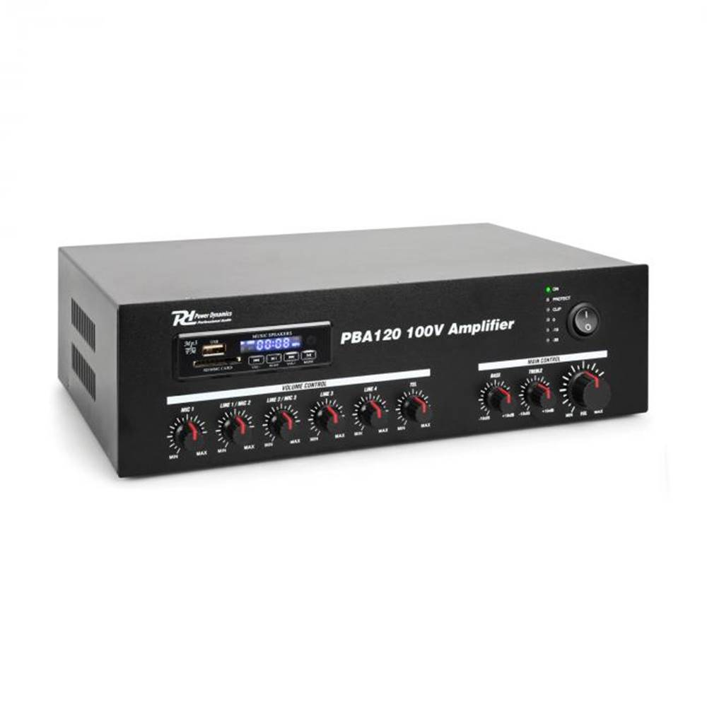 Power Dynamics Power Dynamics PBA120, 100 V zosilňovač, 120 W, USB/SD, MP3, bluetooth