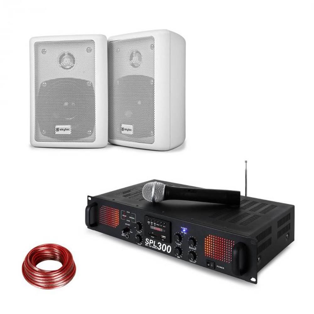 Skytec Skytec SPL 300 VHF, sada s PA zosilňovačom, 2 reproduktory, reproduktorový kábel, biela