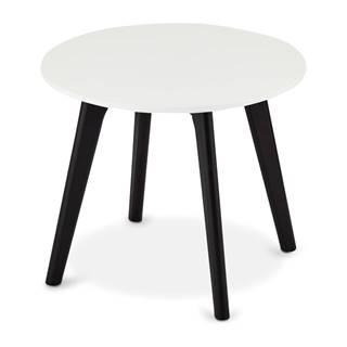 Čierno-biely konferenčný stolík s nohami z dubového dreva FurnhoLife, Ø 48 cm