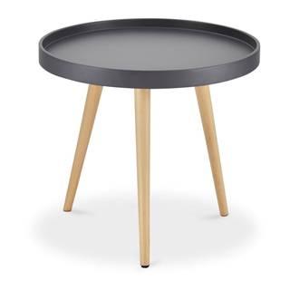 Sivý konferenčný stolík s nohami z bukového dreva FurnhoOpus, Ø 50 cm