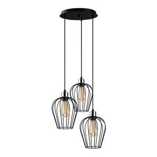 Čierne závesné svietidlo pre 3 žiarovky Opviq lights Tel