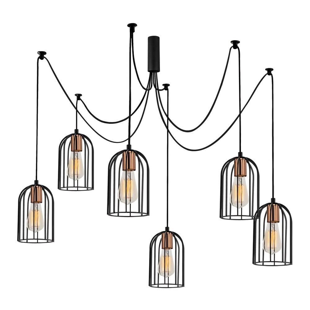 Opviq lights Čierne závesné svietidlo pre 6 žiaroviek Opviq lights Pamukkale