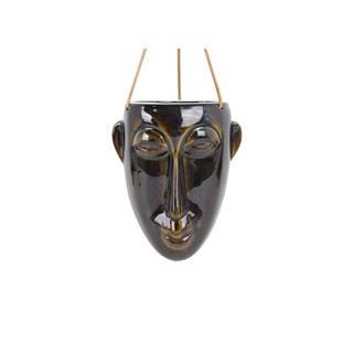Tmavohnedý závesný kvetináč PT LIVING Mask, výška 22,3 cm