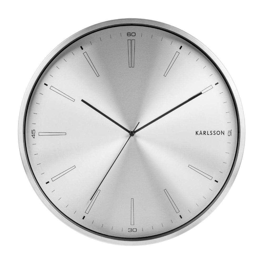 Karlsson Sivé kovové hodiny Karlsson Distinct, ø 40 cm