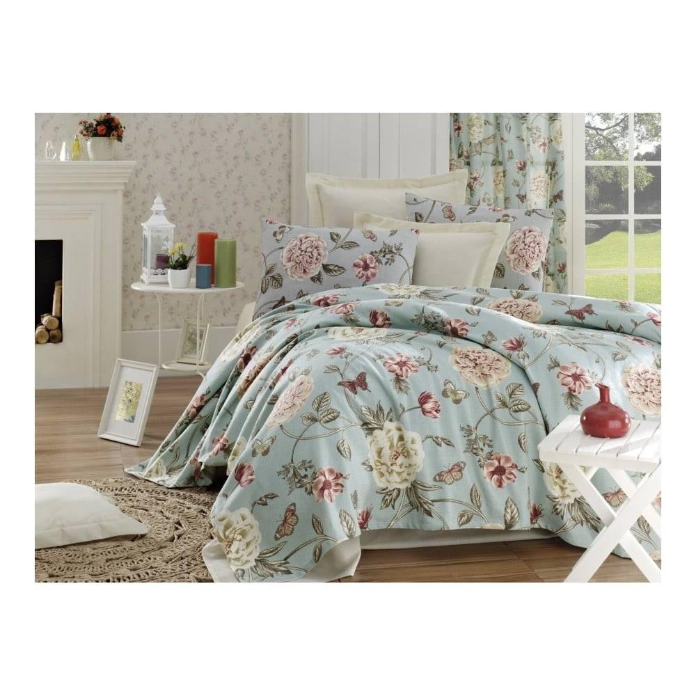 EnLora Home Bavlnený pléd cez posteľ na dvojlôžko Single Pique Rasso, 200 × 235 cm