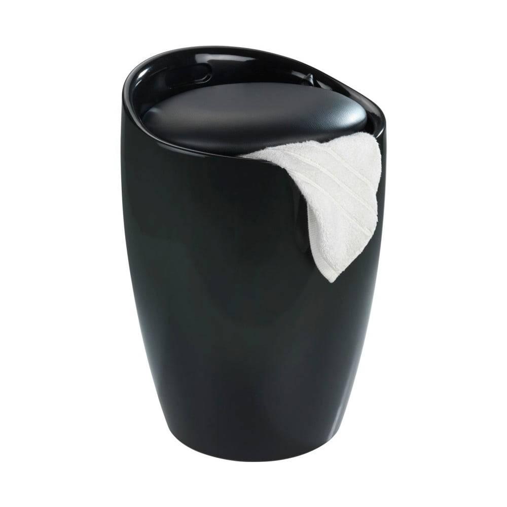 Wenko Čierny kôš na bielizeň a taburetka v jednom Wenko Candy, 20 l