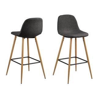 Sivá barová stolička s kovovým podnožím v dekore dubu Actona Wilma