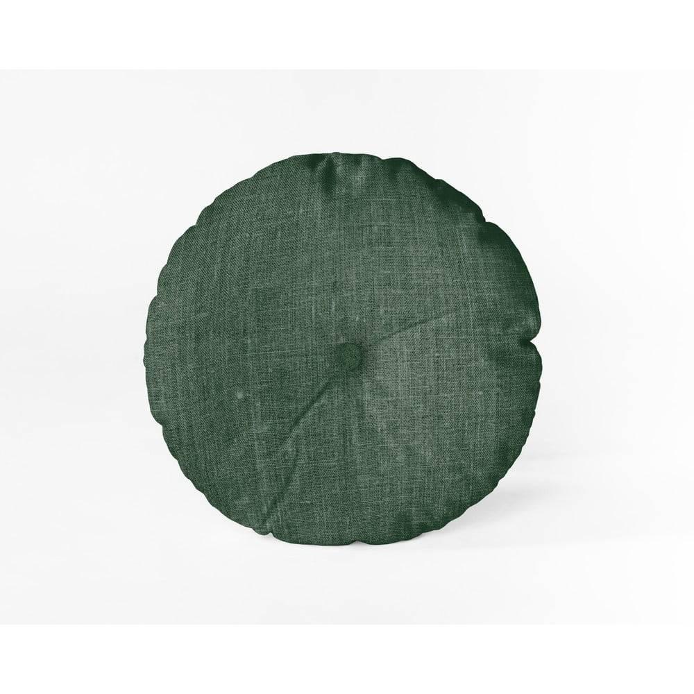 Linen Couture Tmavozelený vankúš Linen Couture Cojin Redondo Dark Green, ⌀ 45 cm