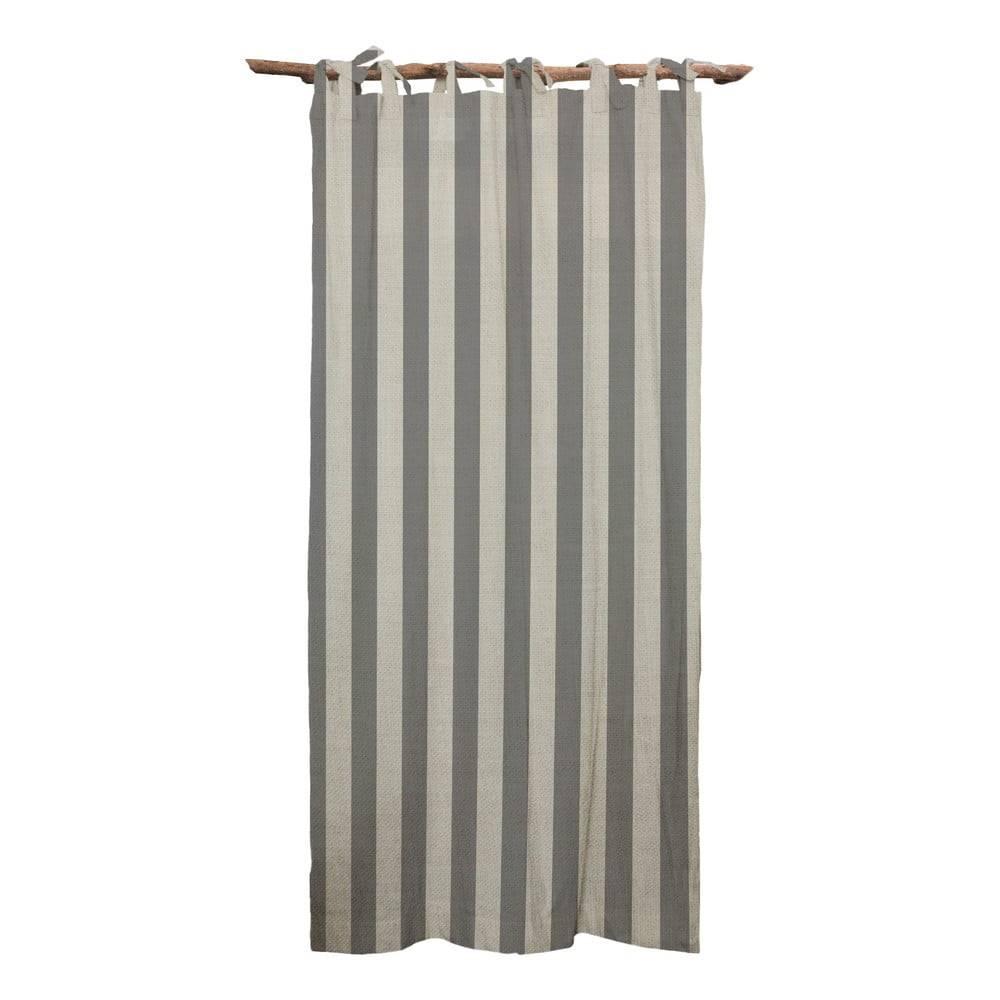 Linen Couture Sivý záves Linen Couture Cuture Cortina Hogar Grey Stripes
