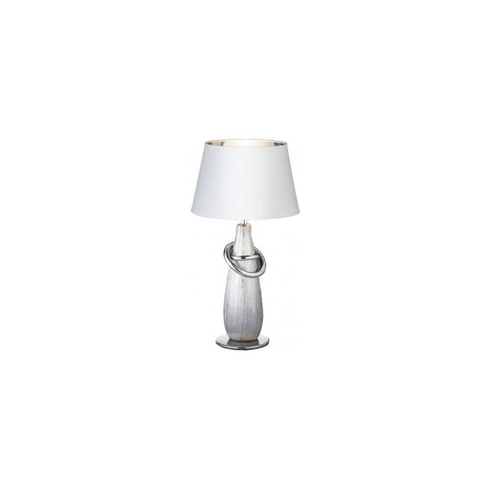Trio Biela stolová lampa z keramiky a tkaniny Trio Thebes, výška 38 cm