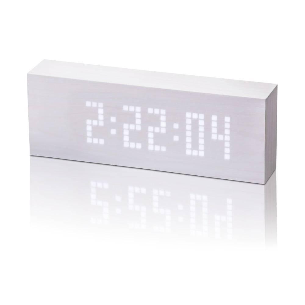 Gingko Biely budík s bielym LED displejom Gingko Message Click Clock