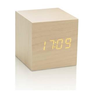 Svetlohnedý budík so žltým LED displejom Gingko Cube Click Clock