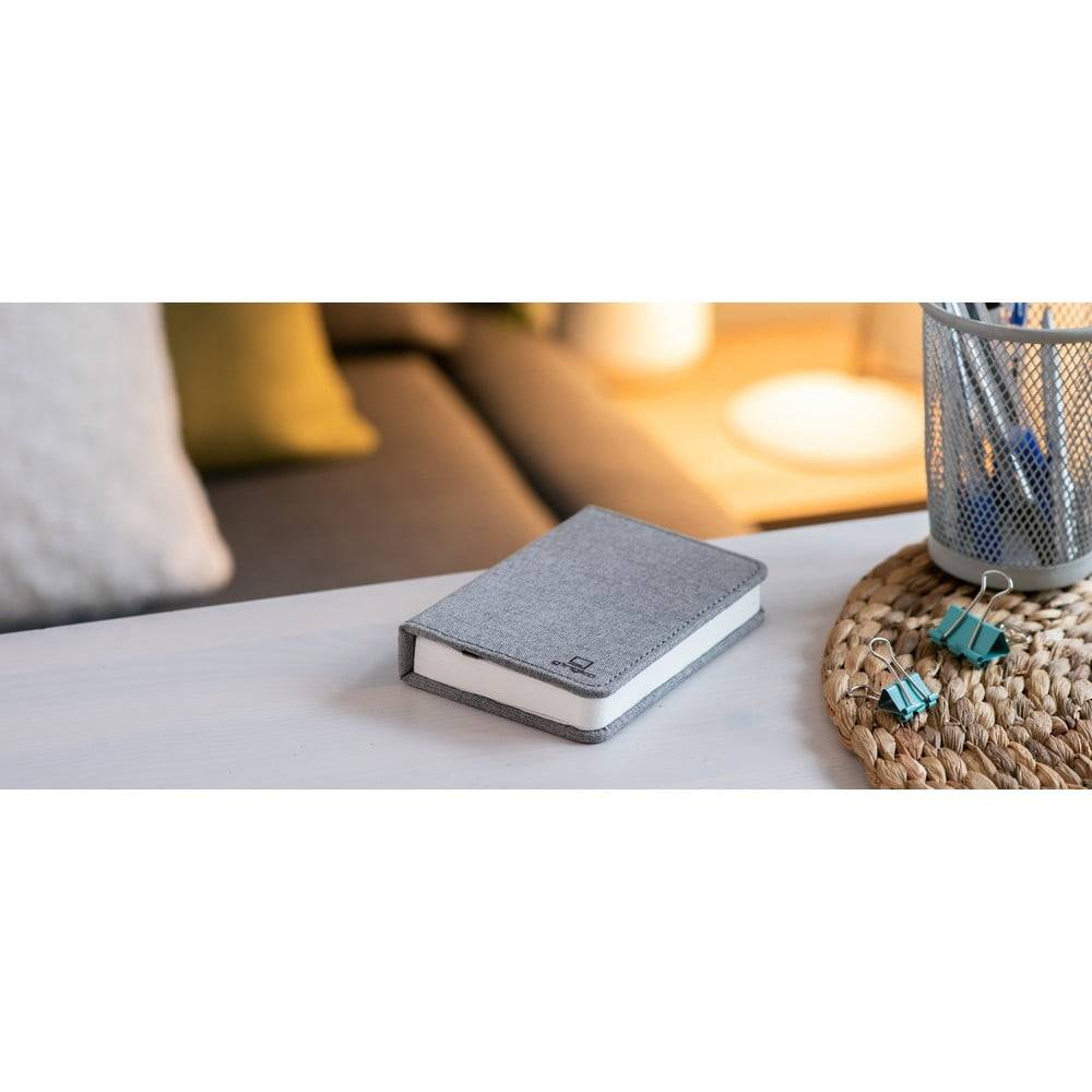 Gingko Sivá malá LED stolová lampa v tvare knihy Gingko Booklight