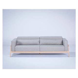 Sivá pohovka s konštrukciou z masívneho dubového dreva Gazzda Fawn Plus, 240 cm