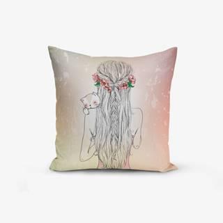 Obliečka na vaknúš s prímesou bavlny Minimalist Cushion Covers Girl and Cat, 45×45 cm