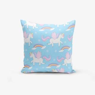 Obliečka na vankúš s prímesou bavlny Minimalist Cushion Covers Blue Background Unicorn Rainbows, 45×45 cm