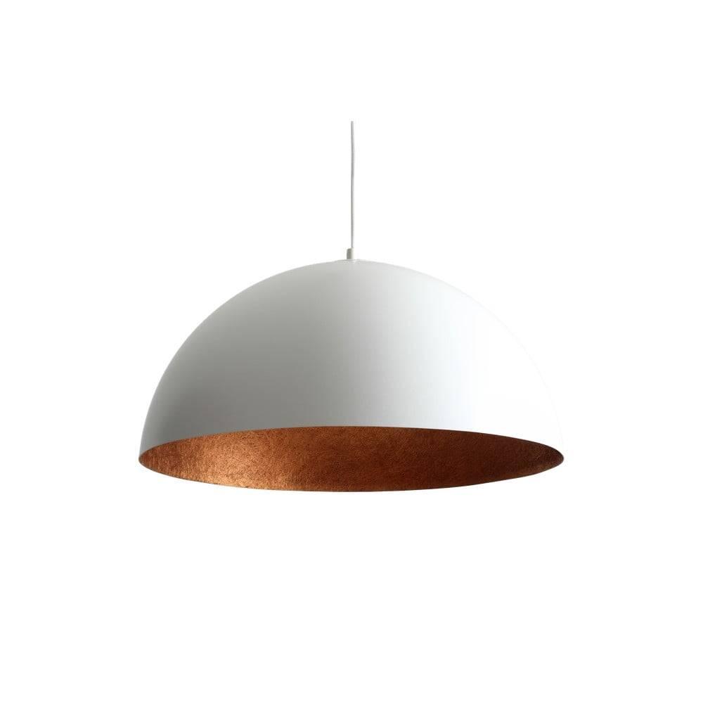 Custom Form Biele závesné svietidlo s detailom v medenej farbe Custom Form Lord, ø 50 cm