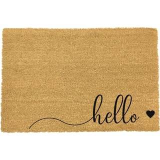 Čierna rohožka z prírodného kokosového vlákna Artsy Doormats Hello Scribble, 40 x 60 cm