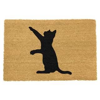 Rohožka z prírodného kokosového vlákna Artsy Doormats Cat, 40 x 60 cm