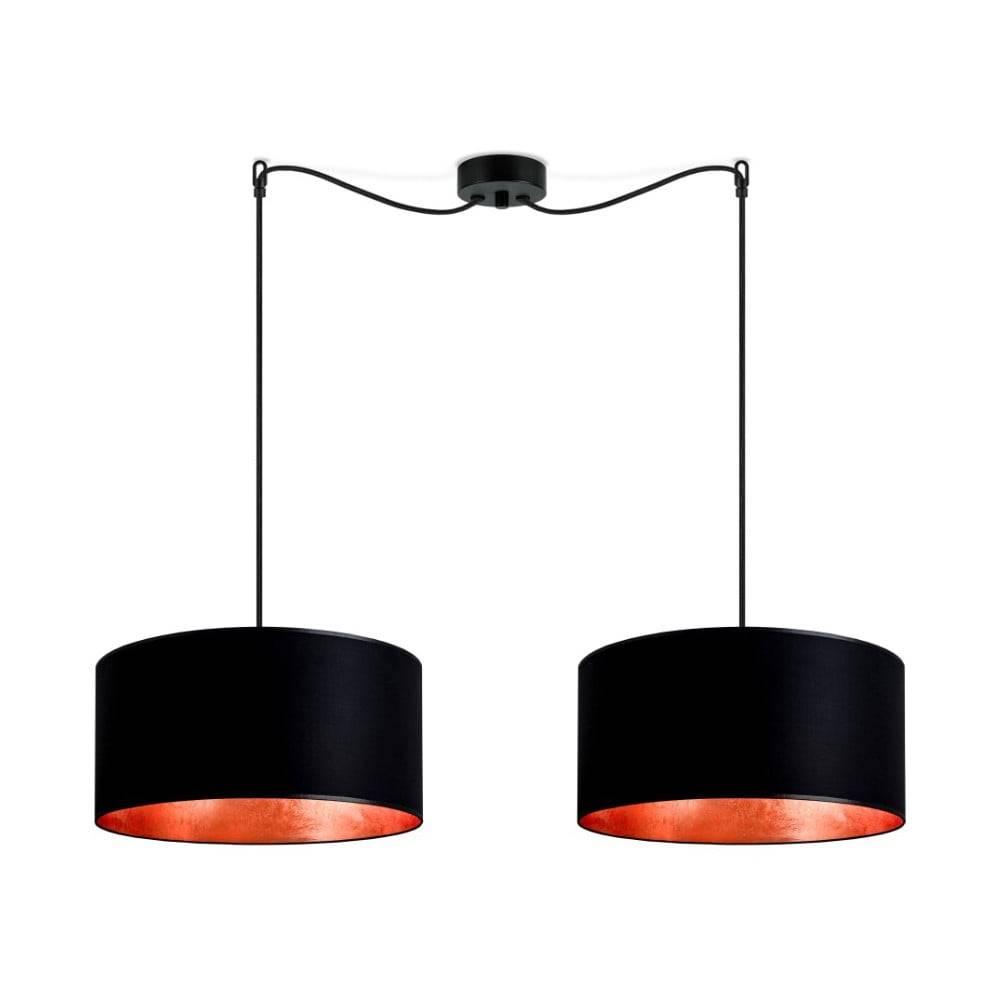 Sotto Luce Čierne dvojité stropné svietidlo s vnútrajškom v medenej farbe Sotto Luce Mika